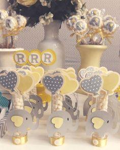 Chá Revelação Tema Elefantinho Elephant Baby Shower Cake, Elephant Cakes, Elephant Party, Baby Shower Yellow, Baby Elephant, Baby Shower Cakes, Baby Shower Parties, Baby Shower Themes, Baby Boy Shower