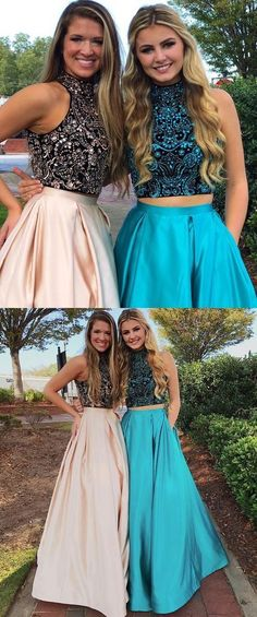 Two Pieces Prom Dresses A-line High Neck Beading Modest Long Prom Dress Amyprom – AmyProm