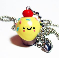 Polymer Clay Charm Happy Cupcake Kawaii Necklace - 24 inch - In stock and READY TO SHIP via Etsy