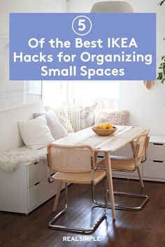 5 of the Best IKEA Hacks for Organizing Small Spaces | These bloggers share their best IKEA hacks using popular IKEA furniture and decorations for a stylish and affordable home upgrade. Any of these IKEA hacks will transform your home, from a work-from-home office with smart storage to creating a buffet-style seating arrangement for a small dining room. #decorideas #homedecor #decorinspiration #realsimple #smallspaceideas #apartmentideas