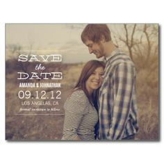 White Text Design Photo Save The Date Post Cards  #wedding #savethedate