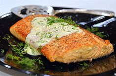 Cast Iron Skillet Salmon with Bleu Cheese and Fresh Dill