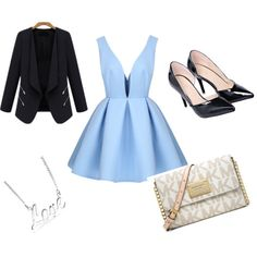 how to wear a blue dress by fashionbuff on Polyvore featuring polyvore fashion style MICHAEL Michael Kors Bling Jewelry
