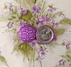 Purple Button Earrings / Geometric / Fabric by ManhattanHippy