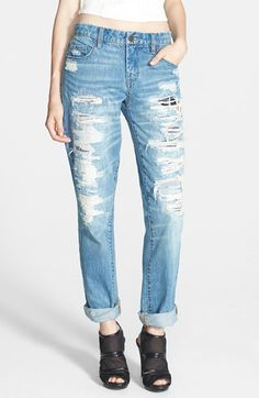Free shipping and returns on BLANKNYC Destroyed Boyfriend Jeans (Torn to Shreds) at Nordstrom.com. Mixed-color patches back the destroyed, threadbare holes marking these relaxed boyfriend jeans cut in a trendy high rise.