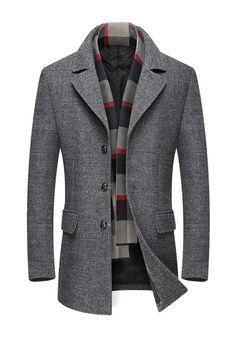 e6bff8d89 Plain Slim Notched Lapel Mens Winter Woolen Coat Coat winter coat