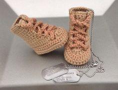 Military boots, military booties, military shoes, baby shoes, baby booties, knit booties, knitted booties, toddler booties, crochet booties