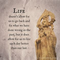 Life doesn't allow for us to go back and fix what we have done wrong in the past, but it does allow for us to live each day better than our last.