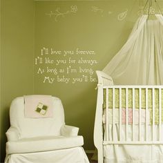 Going in the boys room. I read this book very often to my children! So Sweet!! I'll Love You Forever Nursey quote