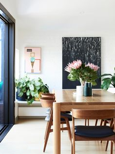 My timber phase is going strong - love this dining setting which is complimented by the native flowers.