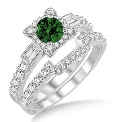 1.5 Carat Emerald & Diamond Vintage floral Bridal Set Engagement Ring on 10k White Gold. If you are looking for a Emerald gemstone engagement ring set at affordable prices then look no further than this beautiful Emerald and diamond wedding engagement ring. This ring can be customized to 10k 14k or 18k gold | Price: $729.00 USD on Shygems #gemstoneringsvintage #diamondengagementringsvintage