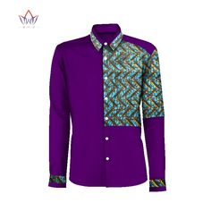 African Traditional Dresses New Real 2017 African Men's Shirts Wax Cotton Cloth Joining Together Long Sleeve Printed Clothing