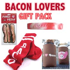Bacon Addicts rejoice! Now you can show your LOVE of Bacon everywhere you go!!  MAKES A GREAT GIFT!!  Four of our most popular bacon gifts in one fun set!  Bundle Pack includes: Bacon Gym Socks, Bacon Air Freshener, I Love Bacon Koozie, & Bacon Silicone Wristband.