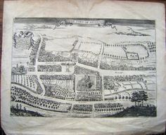 MAP THE TOWN OF HITCHIN G DRAPONTIER EARLY 18THC