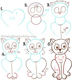 big guide to drawing cartoon cats with basic shapes for kids - Basic Drawings For Kids
