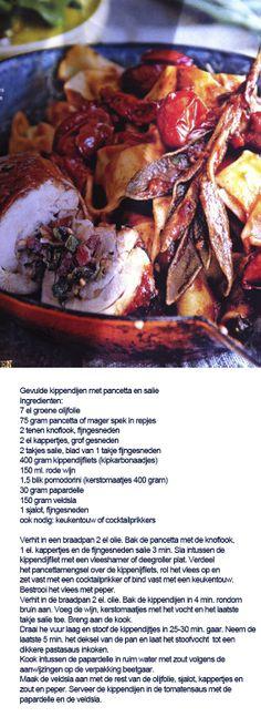 Gevulde kippendijen met pancetta en salie - Italiaans hoofdgerecht met kip Bob Hairstyles, Italian Recipes, Meat, Food, Essen, Bob Cuts, Yemek, Bob Hair Cuts, Bob Hairstyle