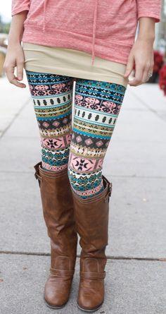 Pink, Green, & Blue Print Leggings - $12.99