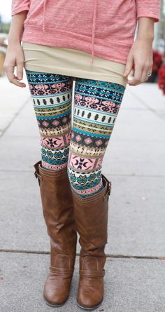 blue print, fashion, pattern, printed leggings, leather boots, color, outfit, closet, tight