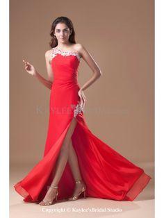 Chiffon One-shoulder Floor Length Sheath Embroidered Prom Dress