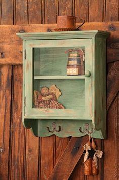 New Country Shabby Farmhouse Chic COTTAGE GREEN CABINET Wall Shelf Hooks #Cottage
