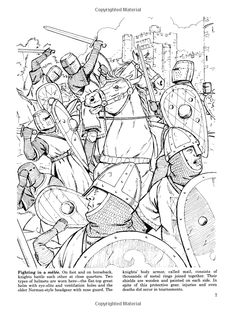 Medieval Jousts And Tournaments Dover History Coloring Book John Green Books