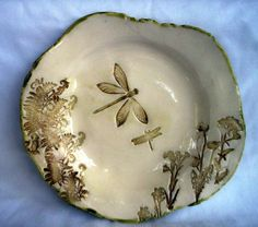 dragonfly handmade pottery dish by Pottery by deborah, via Flickr