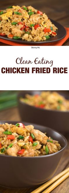 The next time you're tempted to get fattening fried food to-go, pick up the ingredients yourself and cook our Clean Eating Chicken Fried Rice instead. via @SkinnyMs