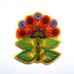 INGRID felt brooch pin with freeform embroidery - scandinavian style