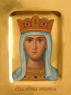 Icon of St Ludmila of Bohemia - Hand-Painted Icon from the Workshop of St. Elisabeth Convent - To learn more about our Icon Painting Studio: http://catalog.obitel-minsk.com/icon-painting