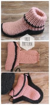 Excellent Photographs Knit crochet tunic Tips Knitted slippers the best gift Knit Slippers Free Pattern, Crochet Tunic Pattern, Knitted Slippers, Crochet Blouse, Black Slippers, Slipper Socks, Crochet Dresses, Knitting Patterns Free, Knit Patterns