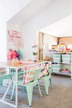 Whimsical and Colorful Playroom - these pops of mint green and hot pink are darling!