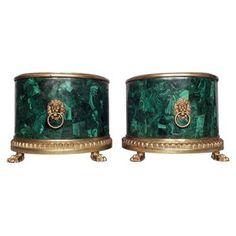 Check out this item at One Kings Lane! Gilt Bronze Malachite Jardinières, Pair
