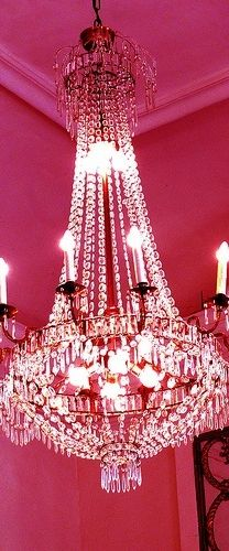 Hot Pink Walls & A Grand Chandelier Art Deco Lighting, Stage Lighting, Glass Chandelier, Chandelier Lighting, Standard Lamps, Beautiful Dining Rooms, Everything Pink, Pink Walls, Beautiful Lights