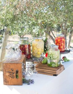 We recommend that every wedding should have a drink station no matter the season – but for those hot summer wedding days, they're pretty much mandatory! drink station You'll Be Drunk In Love With These Crazy Creative Drink Stations Wedding Catering, Wedding Events, Wedding Reception, Wedding Day, Dress Wedding, Wedding Summer, Wedding Backyard, Weddings, Trendy Wedding