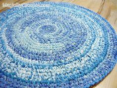 Blue Rag Rug - Nursery Rug - Kitchen Rug - Handmade Rug - 3 foot