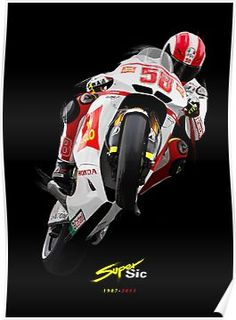 'Marco Simoncelli' Poster by mattlock Motorcycle Racers, Cafe Racer Build, Cool Motorcycles, Valentino Rossi, Super Bikes, Dirt Bikes, Road Racing, Cross Country, Super Cars