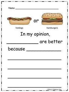 Opinion Writing Bundle - kindergarten and first grade writing - 19 opinion writing topics included