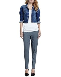 Parker Cropped Denim Jacket, Ribbed Favorite Tank & Relaxed Drawstring Jogger Pants by Vince at Neiman Marcus.