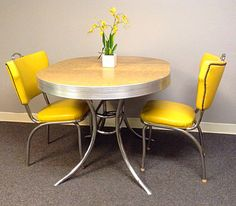 retro yellowgrey mother or pearl formica rare round dinette set