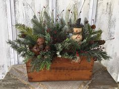 Excited to share this item from my shop: Antique Wooden Box Winter Floral Arrangement with Snowman and Rusty Bells, Vintage Box Christmas Centerpiece, Holiday Table Decor, FAAP Antique Christmas, Rustic Christmas, Christmas Wreaths, Christmas Crafts, Christmas Decorations, Winter Floral Arrangements, Christmas Arrangements, Flower Arrangements, Wooden Box Centerpiece