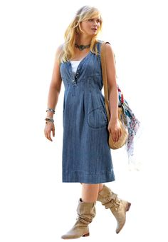 Sleeveless Denim Dress by Taillissime® | Plus Size Casual Dresses | Jessica London Very cute and can dress it up or down!
