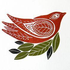 Winter Birds Lino Cut print by Mangle Prints, via Flickr