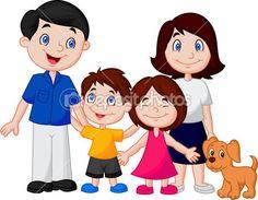 Dibujos animados familia feliz — Vector de stock
