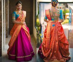 You Can find Beautiful Heavy Work Bridal Blouses Here Blouse Back Neck Designs, Blouse Designs Silk, Lehenga Saree Design, Lehenga Designs, Sari, Ghagra Saree, Silk Lehenga, Wedding Saree Blouse Designs, Half Saree Designs