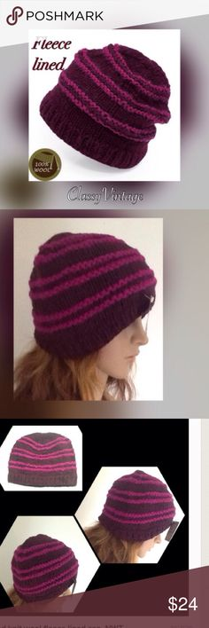 Fair trade wool knit cap Deep maroon with Rose trim 100% wool. Black fleece lined. Handmade and fair trade. No child labor. Boutique Accessories Hats