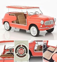 "The Fiat ""Jolly"" beach-buggy, sold from 1958 to was available in beach pink, coral, white, pale yellow and sky blue. Love the rattan seats! Fiat 600, Luxury Sports Cars, Sport Cars, Fiat Sport, Automobile, Microcar, Auto Retro, American Graffiti, Roadster"