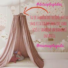 Bom dia! Você curte #cabaninhas e um DIY? Olhando essa imagem que encontrei no Pinterest, percebi que pode ser muito fácil fazer você mesma uma delas para o quarto de seus pequenos. Você precisará … Cot Canopy, Baby Canopy, Canopies, Girl Room, Girls Bedroom, Bedroom Decor, Sleep Solutions, Canopy Design, Montessori Baby