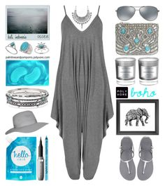 """05.08.16 / Anthea Lagenlook Jumpsuit"" by palmtreesandpompoms ❤ liked on Polyvore featuring WearAll, Ray-Ban, Havaianas, New Look, Midsummer Star, Miss Selfridge, D.L. & Co., tarte, Topshop and Chico's"