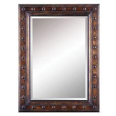 """lovely bronze mirror, 30 x 40"""", beveled glass, wooden frame, looks like metal,  $99"""