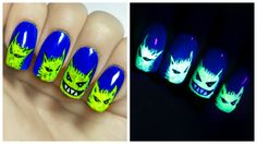 Radioactive Critters ⎮ Glow in the Dark Freehand Nail Art Tutorial